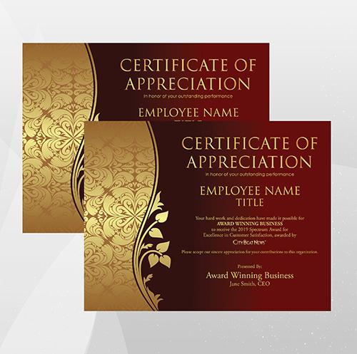2019 City Beat News Spectrum Award Appreciation Certificate